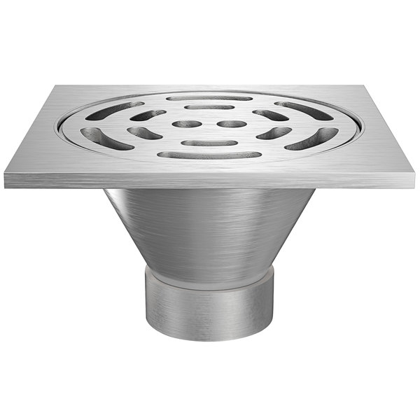 "Zurn Z1800-6NH-12S-USA 12"" Square Type 304 Stainless Steel Industrial Sanitary Floor Drain with Heavy-Duty Slotted Grate and 6"" No-Hub Outlet Main Image 1"