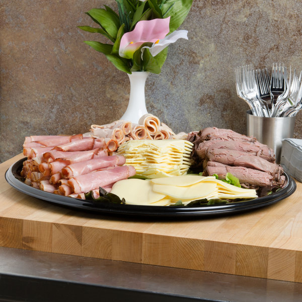 """Fineline Platter Pleasers 7810TF PET Plastic Black Thermoform 18"""" Catering Tray - 25/Case"""
