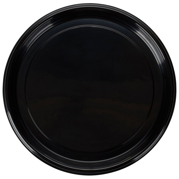 Fineline Platter Pleasers 7810TF PET Plastic Black Thermoform 18 inch Catering Tray - 25/Case