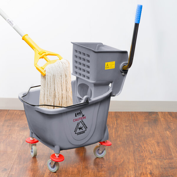 Lavex Janitorial 26 Qt. Grey Mop Bucket and Side Press Wringer Combo Main Image 4