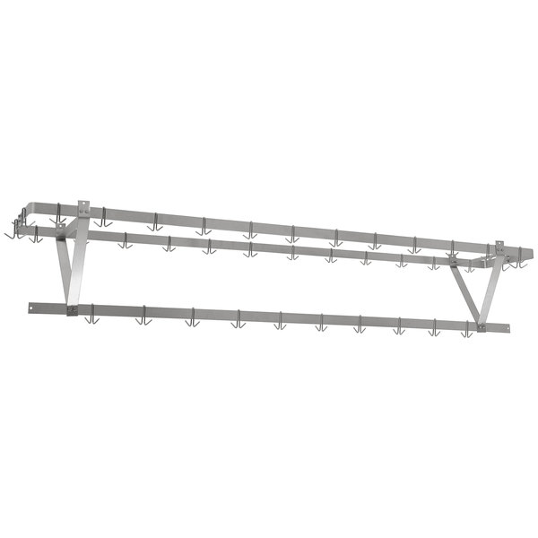 """Eagle Group CM144PR Stainless Steel Ceiling-Mounted Pan / Pot Rack with Hooks - 136"""" Main Image 1"""