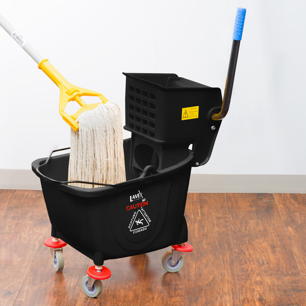 Lavex Janitorial 26 Qt. Black Mop Bucket and Side Press Wringer Combo Main Image 4