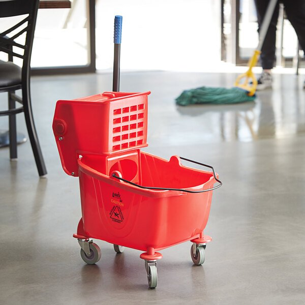 Lavex Janitorial 26 Qt. Red Mop Bucket and Side Press Wringer Combo Main Image 5