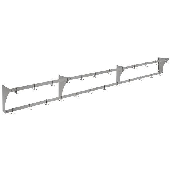 "Eagle Group WM144APR Aluminum Wall-Mounted Pan / Pot Rack with Hooks - 144"" Main Image 1"