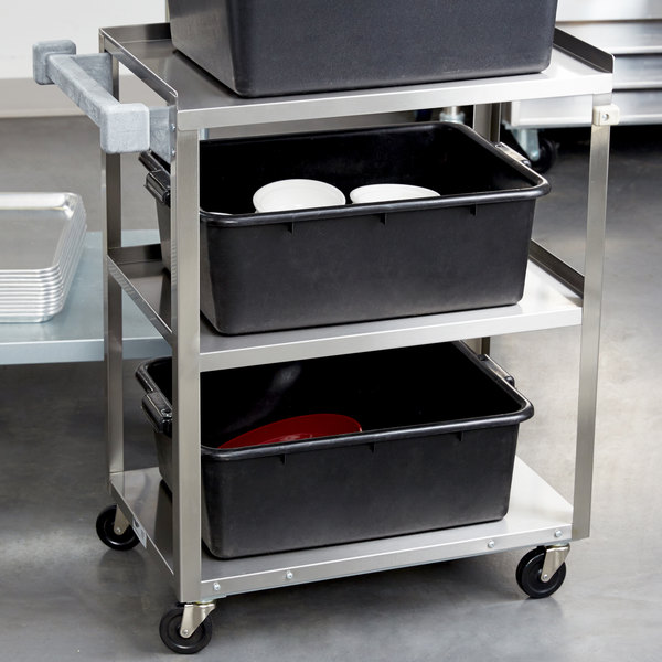 "Vollrath 97120 Stainless Steel 3 Shelf Medium Duty Cart - 27 1/2"" x 15 1/2"" x 33"" Main Image 3"