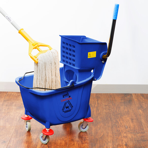 Lavex Janitorial 26 Qt. Blue Mop Bucket and Side Press Wringer Combo Main Image 4