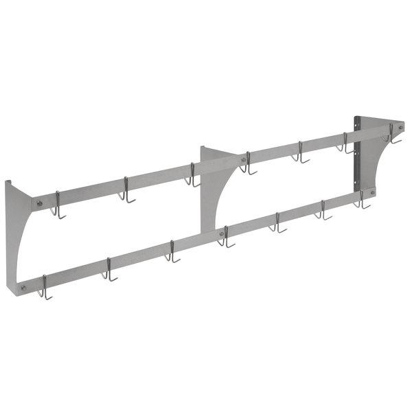 "Eagle Group WM72APR Aluminum Wall-Mounted Pan / Pot Rack with Hooks - 72"" Main Image 1"