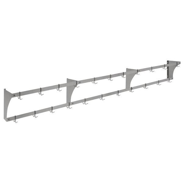 "Eagle Group WM132APR Aluminum Wall-Mounted Pan / Pot Rack with Hooks - 132"" Main Image 1"