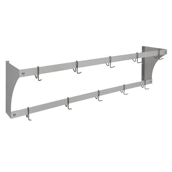 "Eagle Group WM60APR Aluminum Wall-Mounted Pan / Pot Rack with Hooks - 60"" Main Image 1"