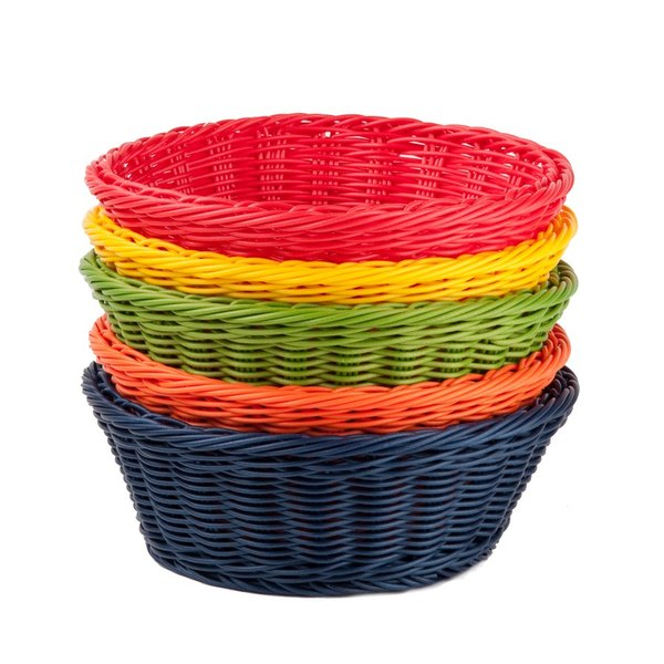 """Tablecraft HM1175A 8 1/4"""" x 3 1/4"""" Round Rattan Basket with Assorted Colors - 5/Pack"""