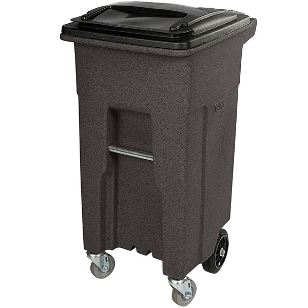 Toter ACC32-54157 32 Gallon Brown Rectangular Rotational Molded Wheeled Trash Can with Casters and Lid Main Image 1