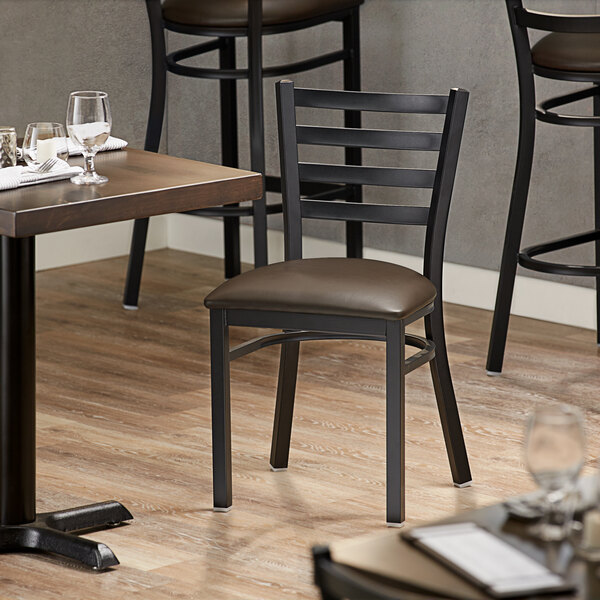 Lancaster Table & Seating Black Finish Metal Ladder Back Cafe Chair with Dark Brown Padded Seat Main Image 4
