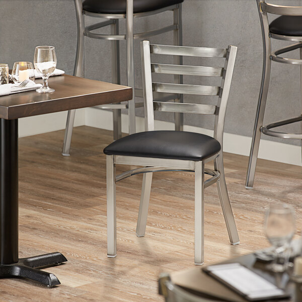 Lancaster Table & Seating Clear Frame Ladder Back Cafe Chair with Black Padded Seat Main Image 4