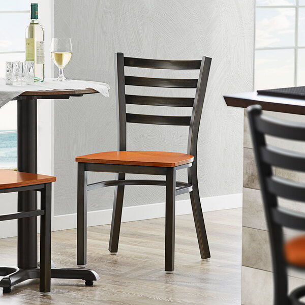 Lancaster Table & Seating Distressed Copper Frame Ladder Back Cafe Chair with Cherry Wood Seat Main Image 4