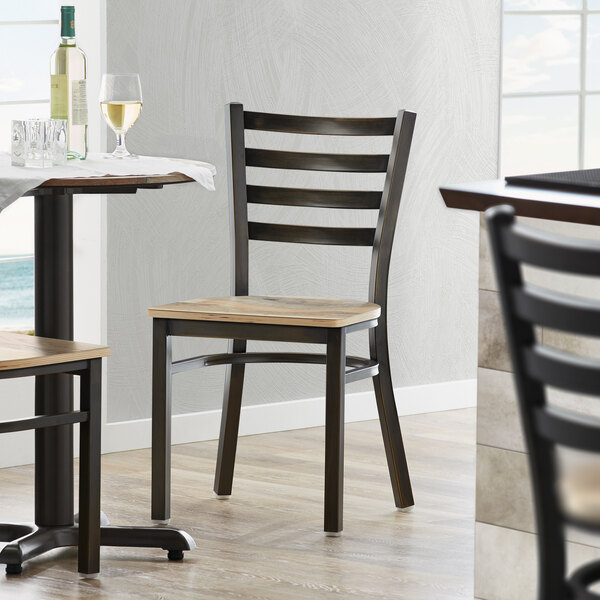 Lancaster Table & Seating Distressed Copper Frame Ladder Back Cafe Chair with Driftwood Seat Main Image 4