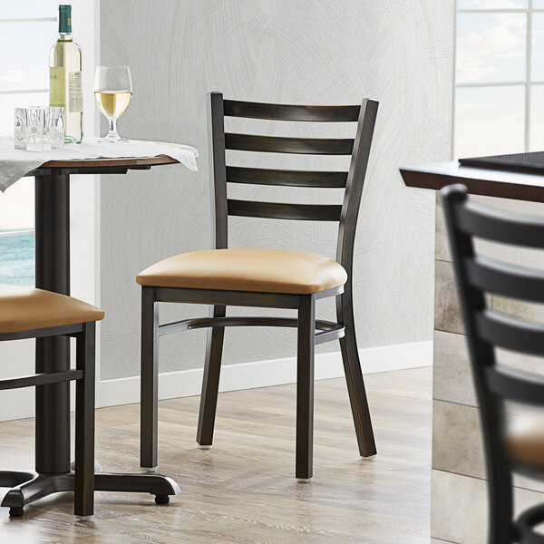 Lancaster Table & Seating Distressed Copper Frame Ladder Back Cafe Chair with Light Brown Padded Seat Main Image 4