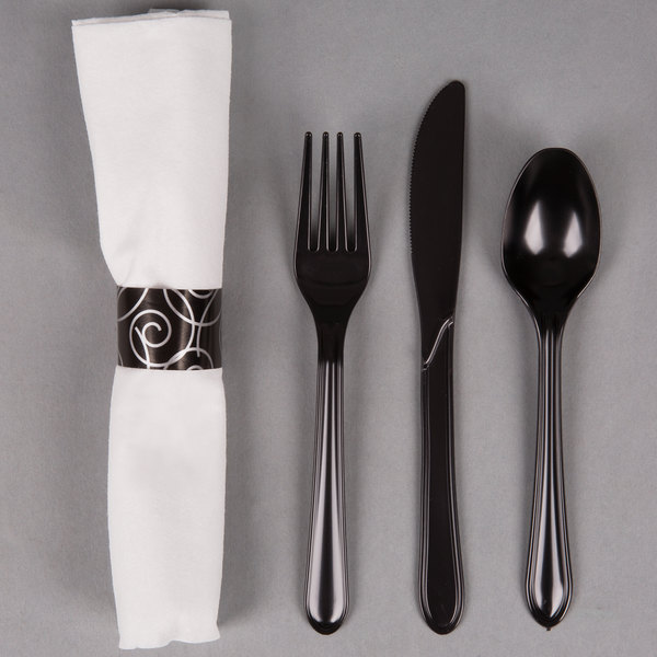 Hoffmaster 119971 Silver Swirl CaterWrap 17 inch x 17 inch Pre-Rolled Linen-Like White Napkin and Black Heavy Weight Plastic Cutlery Set - 50/Pack