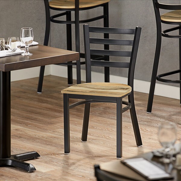 Lancaster Table & Seating Black Finish Metal Ladder Back Cafe Chair with Driftwood Seat Main Image 4