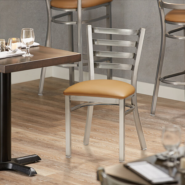 Lancaster Table & Seating Clear Frame Ladder Back Cafe Chair with Light Brown Padded Seat Main Image 4