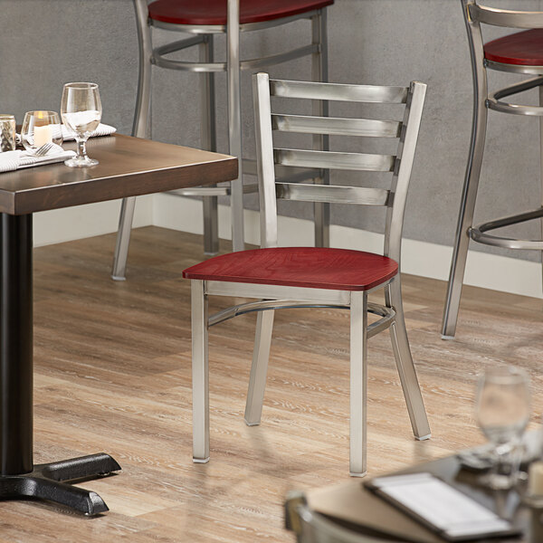 Lancaster Table & Seating Clear Coat Frame Ladder Back Cafe Chair with Mahogany Wood Seat Main Image 4