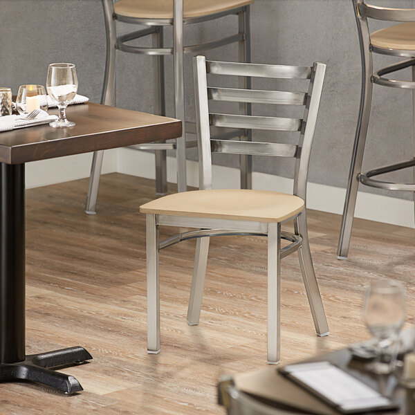 Lancaster Table & Seating Clear Coat Frame Ladder Back Cafe Chair with Natural Wood Seat Main Image 4