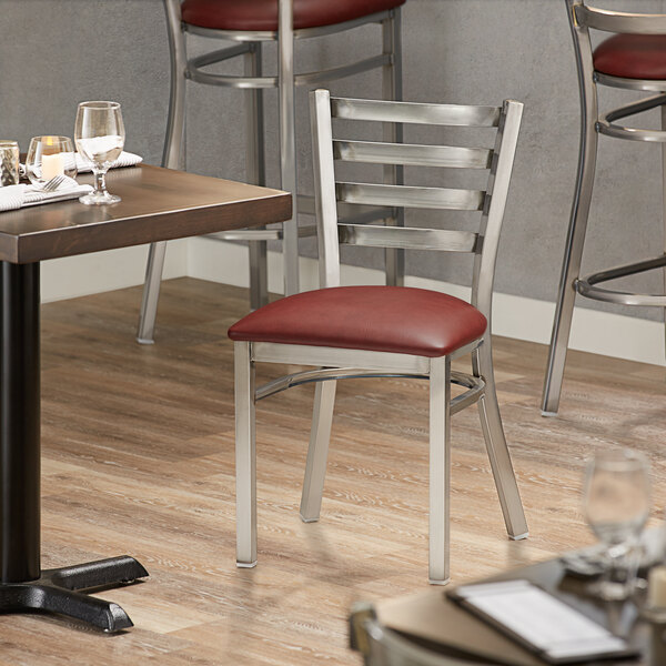 Lancaster Table & Seating Clear Frame Ladder Back Cafe Chair with Burgundy Padded Seat Main Image 4