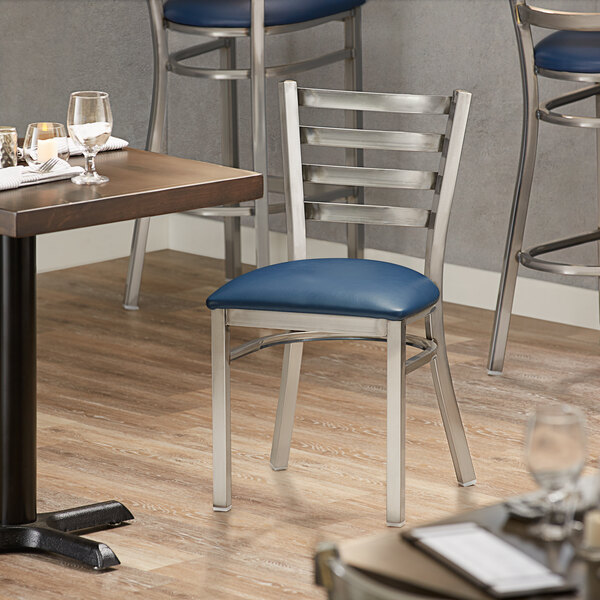 Lancaster Table & Seating Clear Frame Ladder Back Cafe Chair with Navy Blue Padded Seat Main Image 4
