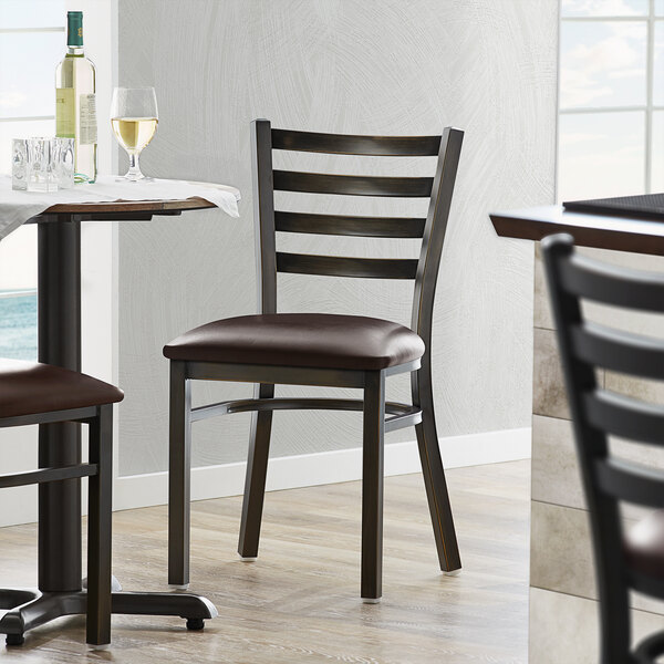 Lancaster Table & Seating Distressed Copper Frame Ladder Back Cafe Chair with Dark Brown Padded Seat Main Image 4