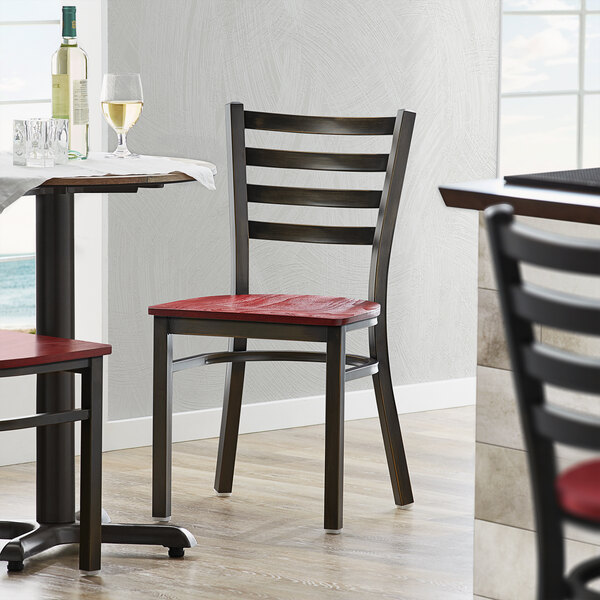 Lancaster Table & Seating Distressed Copper Frame Ladder Back Cafe Chair with Mahogany Wood Seat Main Image 4