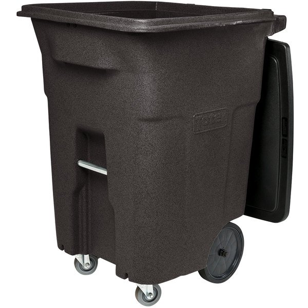 Toter ACC96-11293 96 Gallon Brown Rectangular Rotational Molded Wheeled Trash Can with Casters and Lid Main Image 1