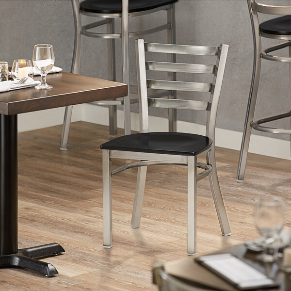 Lancaster Table & Seating Clear Coat Frame Ladder Back Cafe Chair with Black Wood Seat Main Image 4