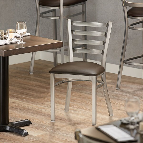 Lancaster Table & Seating Clear Frame Ladder Back Cafe Chair with Dark Brown Padded Seat Main Image 4