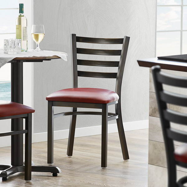 Lancaster Table & Seating Distressed Copper Frame Ladder Back Cafe Chair with Burgundy Padded Seat Main Image 4