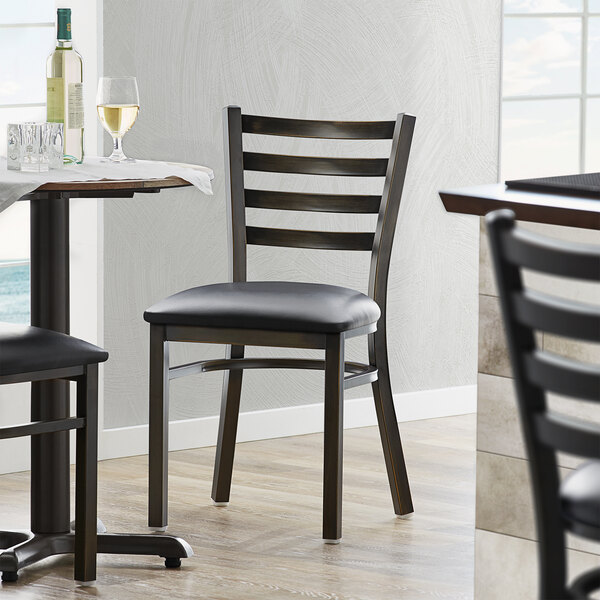 Lancaster Table & Seating Distressed Copper Frame Ladder Back Cafe Chair with Black Padded Seat Main Image 4
