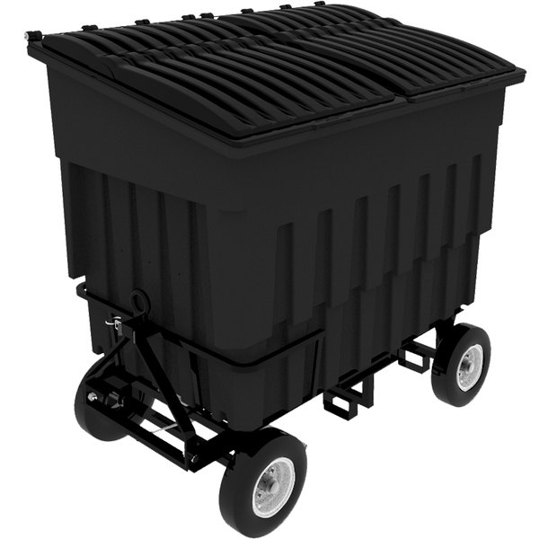 Toter FLA30-00BLK 3 Cubic Yard Blackstone Rapid Speed Mobile Trash Container / Dumpster with Attached Lid (1500 lb. Capacity) Main Image 1
