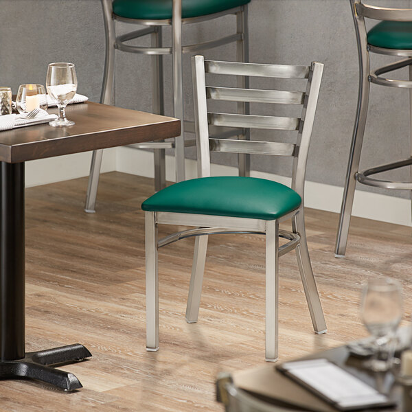 Lancaster Table & Seating Clear Frame Ladder Back Cafe Chair with Green Padded Seat Main Image 4