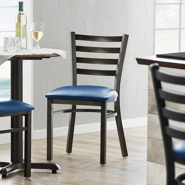 Lancaster Table & Seating Distressed Copper Frame Ladder Back Cafe Chair with Navy Blue Padded Seat Main Image 4