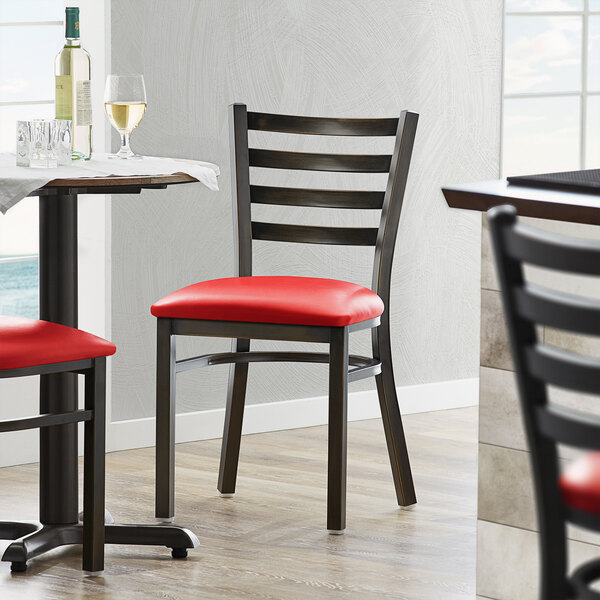 Lancaster Table & Seating Distressed Copper Frame Ladder Back Cafe Chair with Red Padded Seat Main Image 4