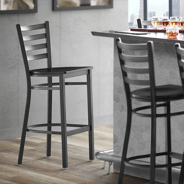 Lancaster Table & Seating Black Frame Ladder Back Bar Height Chair with Black Wood Seat Main Image 4