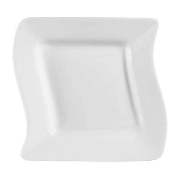 "CAC SOH-6 Soho 6 3/4"" Ivory (American White) Square Stoneware Plate - 36/Case"