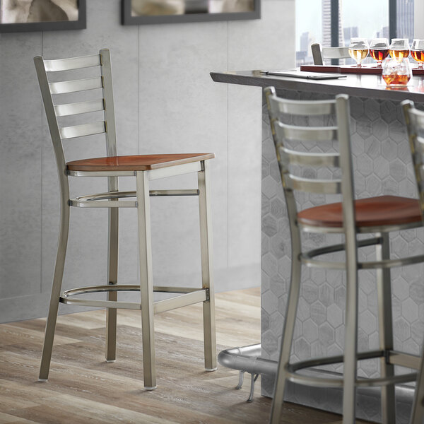 Lancaster Table & Seating Clear Coat Frame Ladder Back Bar Height Chair with Antique Walnut Wood Seat Main Image 4