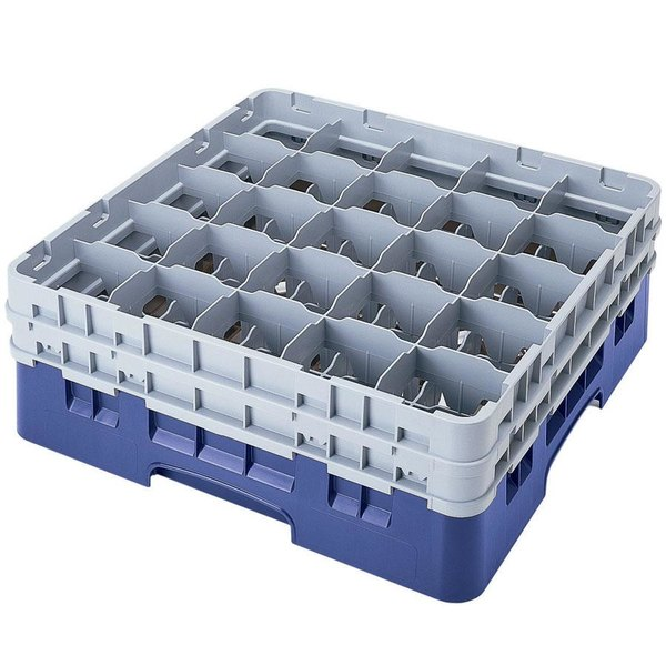 "Cambro 25S1058168 Camrack 11"" High Customizable Blue 25 Compartment Glass Rack"
