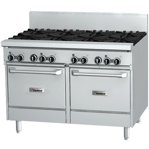 "Garland GFE48-4G24LL Natural Gas 4 Burner 48"" Range with Flame Failure Protection and Electric Spark Ignition, 24"" Griddle, and 2 Space Saver Ovens - 120V, 204,000 BTU"