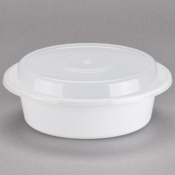 Newspring NC-718 16 oz. White 6 inch VERSAtainer Round Microwavable Container with Lid - 150/Case