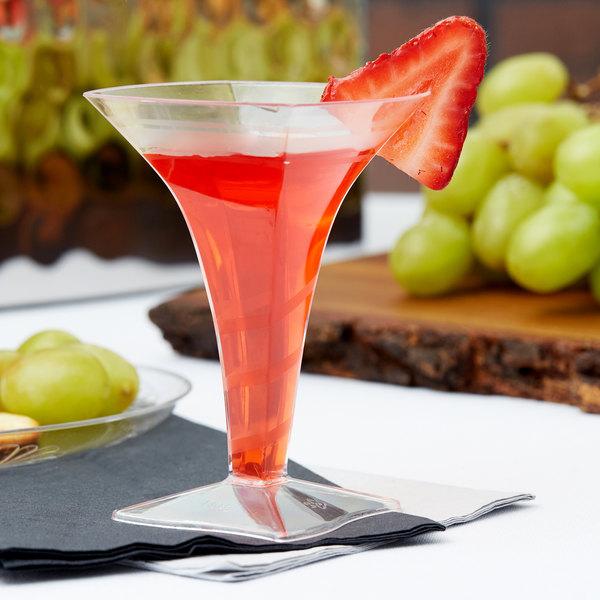 Fineline Tiny Temptations 6408-CL 2 oz. 1-Piece Tiny Barware Clear Plastic Square Martini Glass - 96/Case