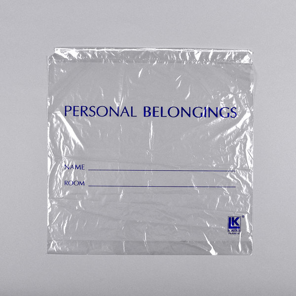 "LK Packaging PB20203DSC 20"" x 3"" x 20"" Clear Personal Belongings Bag with Cordstring Closure - 250/Case Main Image 1"