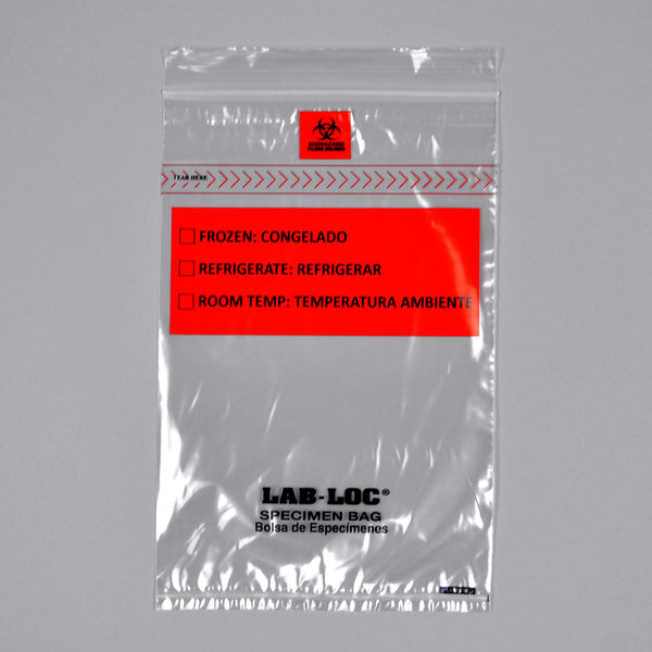 """LK Packaging LABZ69B Lab-Loc 6"""" x 9"""" Seal-N-Rip Reclosable 3-Wall Specimen Transfer Bag with Removable Biohazard Symbol - 1000/Case Main Image 1"""