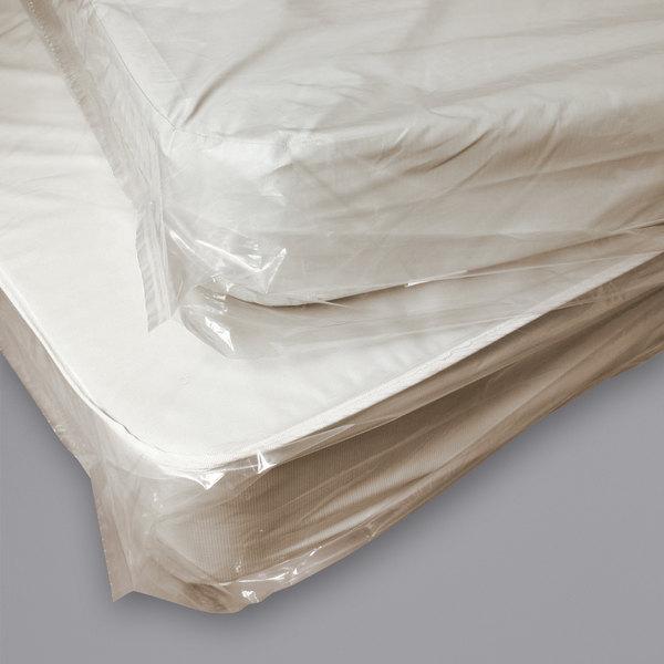"""LK Packaging K48T 39"""" x 9"""" x 90"""" Tan Tint Twin Mattress Bag - 100/Roll Main Image 1"""