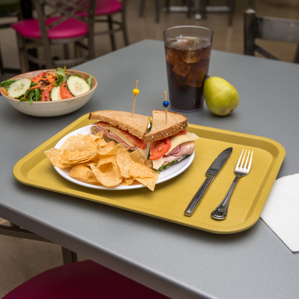 "Carlisle CT121621 Customizable Cafe 12"" x 16"" Gold Standard Plastic Fast Food Tray - 24/Case"