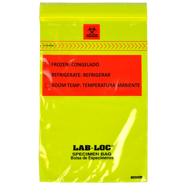 """LK Packaging LABZ69YE Lab-Loc 6"""" x 9"""" Seal-N-Rip Reclosable Yellow Tint 3-Wall Specimen Transfer Bag with Removable Biohazard Symbol - 1000/Case Main Image 1"""